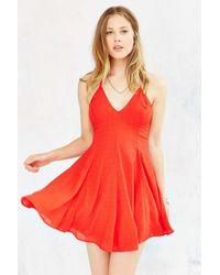 Glamorous - Orange Strappy-back Skater Dress - Lyst