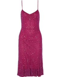 Badgley Mischka | Purple Embellished Tulle Dress | Lyst