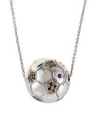 Roberto Coin - White Diamond Soccer Ball Pendant Necklace - Lyst