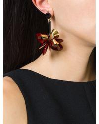 Erika Cavallini Semi Couture   Red Flower Drop Earrings   Lyst