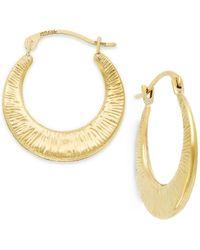 Macy's | Metallic Ribbed Hoop Earrings In 10k Gold | Lyst