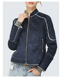 Bungalow 20 - Blue Suede Moto Jacket In Navy - Lyst