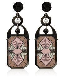 Anna E Alex - Pink Burnished Silver and Pearl Liberty Print Deco Earrings - Lyst