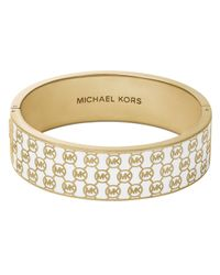 Michael Kors | White Logo Print Wide Bangle | Lyst