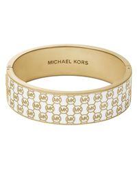 Michael Kors - White Logo Print Wide Bangle - Lyst