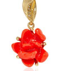 Oscar de la Renta - Red Resin Rose Earrings - Lyst