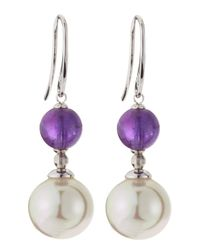 Majorica | Purple Amethyst & Pearl Earrings | Lyst