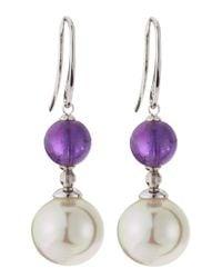 Majorica - Purple Amethyst & Pearl Earrings - Lyst