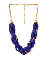 Forever 21 - Blue Dreamy Twisted Beaded Necklace - Lyst