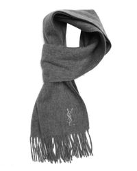 Saint Laurent - Gray Light Grey Wool Fringed Scarf for Men - Lyst