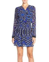 Adelyn Rae - Blue Print Faux Wrap Dress - Lyst