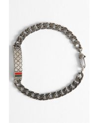 Gucci | Metallic Diamante Pattern Sterling Silver Bracelet for Men | Lyst