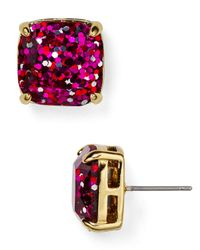 kate spade new york | Metallic Small Square Glitter Stud Earrings | Lyst