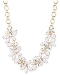 Anne Klein - White Gold-Tone Large Flower Collar Necklace - Lyst