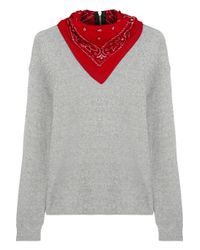 R13 - Gray Bandana-Embellished Cotton-Terry Sweatshirt - Lyst