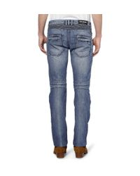Balmain | Blue Biker Distressed Slim-leg Jeans for Men | Lyst
