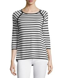 Neiman Marcus - White 3/4-sleeve Striped Top - Lyst