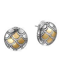 John Hardy | Metallic Naga Gold & Silver Button Earrings | Lyst