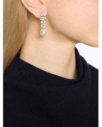 Fantasia Jewelry - White Earring Cluster With Pearl Drop - Lyst