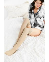 Urban Outfitters | Natural Ribbed Scallop Thigh-high Sock | Lyst