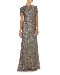 Adrianna Papell - Metallic Cap Sleeve All Over Sequin Dress - Lyst