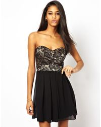 TFNC London | Black Prom Dress With Lace Bodice | Lyst