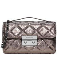 Michael Kors | Metallic Michael Sloan Small Quilted Messenger Bag | Lyst