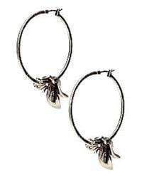 Lucky Brand | Metallic Silvertone Orchid Hoop Earrings | Lyst