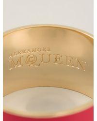 Alexander McQueen   Metallic Enamel Logo Cuff   Lyst
