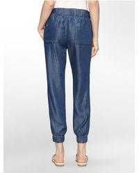 Calvin Klein - Blue White Label Chambray Jogger Pants - Lyst