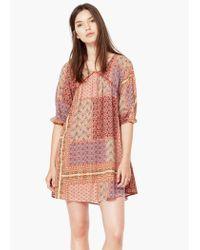 Mango - Pink Contrast-bodice Dress - Lyst