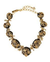 Oscar de la Renta | Metallic Embellished Floral Necklace | Lyst
