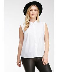 Forever 21 - White Plus Size Sleeveless Classic Woven Blouse - Lyst