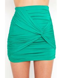 Nasty Gal | Ruched Knot Skirt - Kelly Green | Lyst