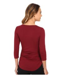 Vince Camuto - Red 3/4 Sleeve Keyhole Top W/ Hardware - Lyst
