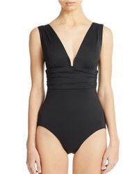 DKNY | Black Body Sculpt Square U Wire One Piece Swimsuit | Lyst