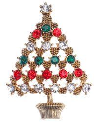 Jones New York - Multicolor Gold-Tone Christmas Tree Pin - Lyst