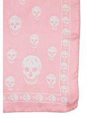 Alexander McQueen - Pink Skull Printed Silk Chiffon Scarf - Lyst