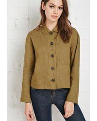Forever 21 | Green Buttoned Linen Shirt | Lyst