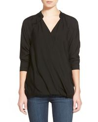 James Perse | Black Long Sleeve Wrap Raglan Top | Lyst