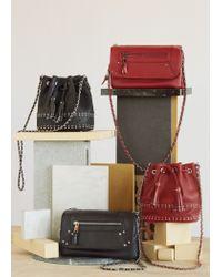 Mango - Red Studded Bucket Bag - Lyst