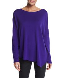 Eileen Fisher | Purple Merino Jersey Asymmetric Tunic | Lyst