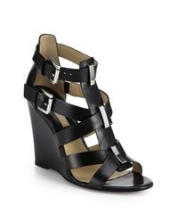 Michael Kors | Black Reagan Leather Wedge Sandals | Lyst