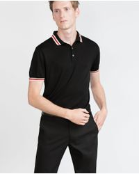 Zara | Black Piped Polo Shirt for Men | Lyst
