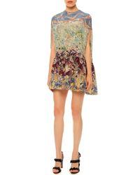 Valentino - Multicolor Landscape-print Silk Crepe De Chine Dolman Dress - Lyst