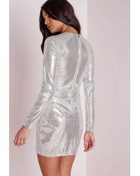Missguided - Metallic Mesh Insert Sequin Bodycon Dress Silver - Lyst