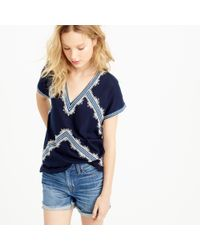 J.Crew | Blue Embroidered Tunic T-shirt | Lyst
