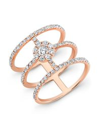 Anne Sisteron - Pink 18kt Rose Gold Diamond Fleur Ring - Lyst