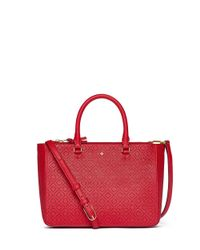 Tory Burch | Red Robinson Perforated Small Multi Tote | Lyst
