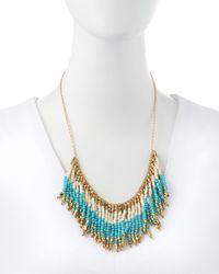 Panacea | Blue Fringe Beaded Bib Necklace Turquoisewhitegolden | Lyst
